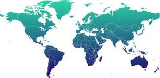 De Kaart van de wereld - de Cilindrische Projectie van de Molenaar Royalty-vrije Stock Afbeeldingen
