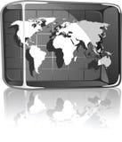 De Kaart van de wereld in de Doos van het Glas Royalty-vrije Stock Foto's