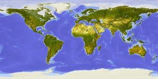 De kaart van de wereld, in de schaduw gestelde hulp, die op Afrika wordt gericht stock illustratie