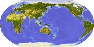 De kaart van de wereld, in de schaduw gestelde hulp, die op Japan wordt gericht Royalty-vrije Stock Afbeelding