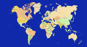 De kaart van de wereld in detail Stock Afbeeldingen