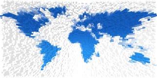 De kaart van de wereld die van blokken wordt gemaakt Stock Afbeelding
