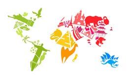 De kaart van de wereld die van oriëntatiepunten wordt gemaakt Stock Fotografie