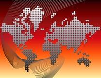 De kaart van de wereld die van punten wordt gemaakt Stock Foto