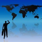 De kaart van de wereld en silhouetachtergrond Stock Fotografie