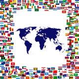 De kaart van de wereld frame door wereldvlaggen stock illustratie