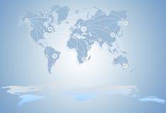 De kaart van de wereld globale zaken tussen staten royalty-vrije illustratie