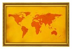 De kaart van de wereld in gouden frame Royalty-vrije Stock Foto's