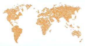 De kaart van de wereld (graan) Royalty-vrije Stock Foto