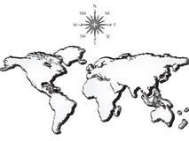De kaart van de wereld grunge Stock Afbeelding