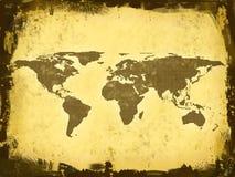 De Kaart van de wereld, grunge vector illustratie