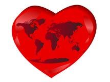 De kaart van de wereld in hart Stock Fotografie