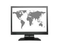 De kaart van de wereld in het brede LCD scherm Royalty-vrije Stock Afbeeldingen