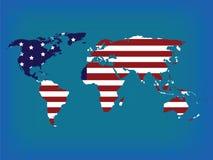 De kaart van de wereld in kleuren Stock Foto
