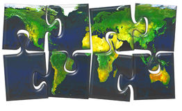 De kaart van de wereld maden van puzzel stock illustratie