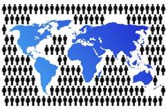 De Kaart van de wereld met Bevolking Royalty-vrije Stock Foto's