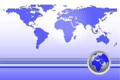 De kaart van de wereld met bol Stock Afbeelding