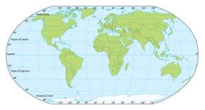 De kaart van de wereld met coördinaten Stock Afbeelding