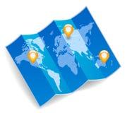 De kaart van de wereld met gps tekens Stock Fotografie