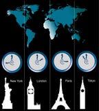 De kaart van de wereld met klokken Royalty-vrije Stock Foto's