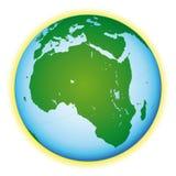De kaart van de wereld met meren. Afrikaanse mening. Stock Foto's