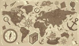De kaart van de wereld met reispictogrammen Stock Afbeelding