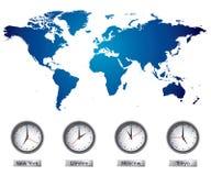 De Kaart van de wereld met tijdzones Royalty-vrije Stock Afbeelding