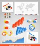 De kaart van de wereld met verschillende symbolen Royalty-vrije Stock Foto