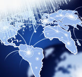De kaart van de wereld met vezeloptica Stock Foto