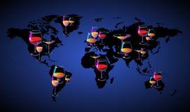 De kaart van de wereld met wijnen stock illustratie