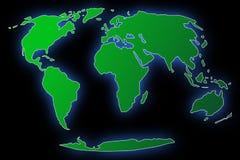 De kaart van de wereld met zwarte achtergrond stock afbeelding