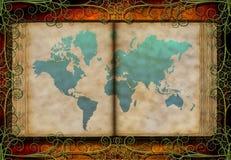 De kaart van de wereld op antiek boek Royalty-vrije Stock Afbeelding
