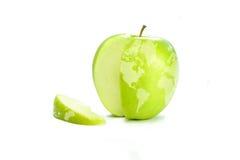 De Kaart van de wereld op Appel stock afbeeldingen