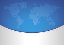 De kaart van de wereld op blauwe achtergrond Stock Foto