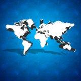De kaart van de wereld op blauwe achtergrond Royalty-vrije Stock Foto