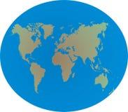 De kaart van de wereld op bol Stock Foto