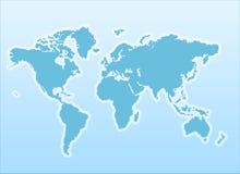 De kaart van de wereld op een blauwe achtergrond Stock Foto