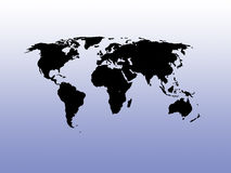 De kaart van de wereld op een gradiëntachtergrond Stock Foto