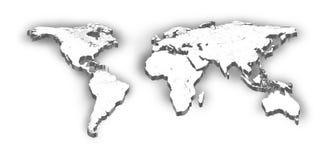 De kaart van de wereld op geïsoleerdg wit Stock Foto