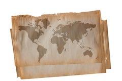 De kaart van de wereld op oud document Stock Foto