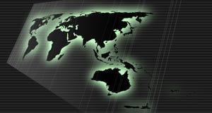 De kaart van de wereld in perspectief Stock Foto's