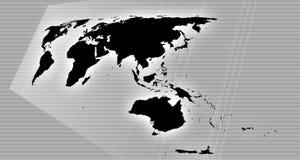 De kaart van de wereld in perspectief Stock Foto