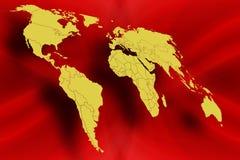 De kaart van de wereld in Rood royalty-vrije illustratie