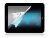 De kaart van de wereld in tablet Stock Afbeelding
