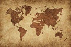 De kaart van de wereld in uitstekend patroon Stock Foto's