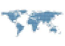 De Kaart van de wereld van blauwe 3D Punten Stock Fotografie