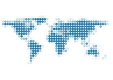 De Kaart van de wereld van blauwe Punten Stock Afbeeldingen