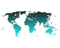 De kaart van de wereld van brede lijnen Stock Afbeeldingen