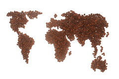 De Kaart van de Wereld van de koffie Royalty-vrije Stock Foto's