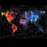 De Kaart van de Wereld van de nacht met grootste steden Stock Fotografie